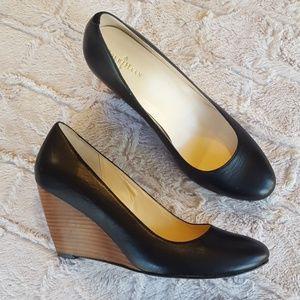 Cole Haan, black wedge heels size 9